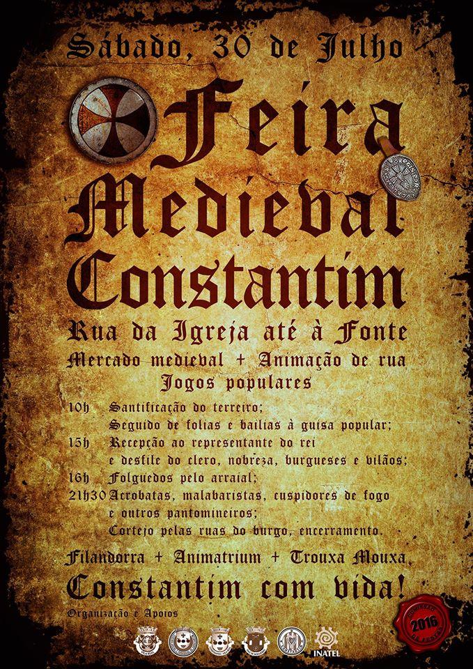 Cartaz da Feira Medieval de Constantim - Vila Real - Julho de 2016