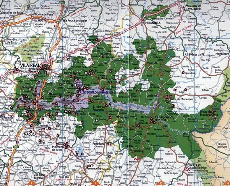 Mapa da Região Demarcada do Douro