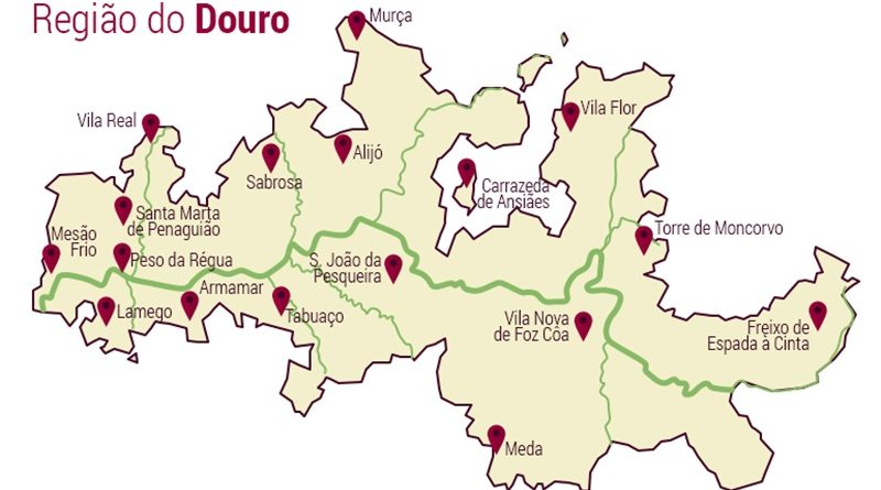 A Região Demarcada do Douro – um mundo extraordinário - Mapa da região