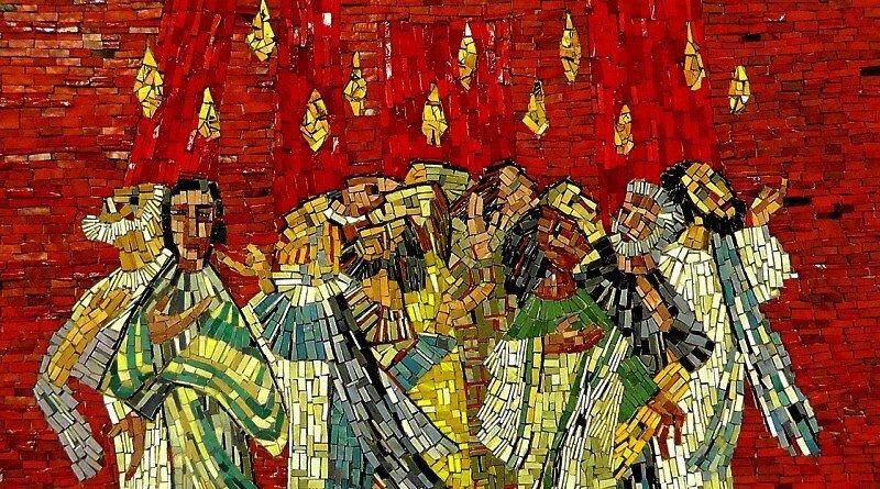 Culto ao Espírito Santo. A descida do Espírito Santo sobre Maria e os Apóstolos.