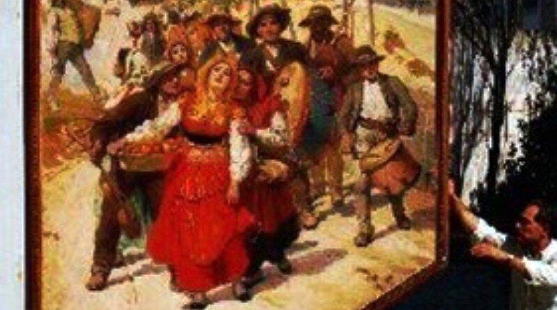 """José Malhoa - Pormenor da pintura """"A caminho da romaria""""."""