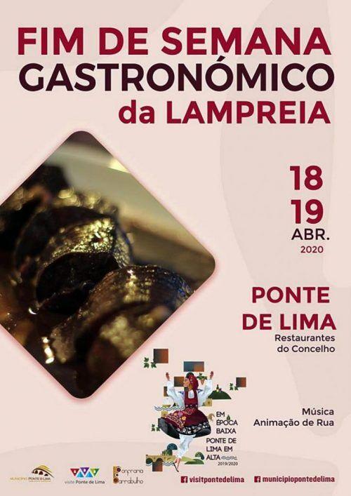 Cartaz de divulgação do Fim-de-semana gastronómico da lampreia em Ponte de Lima - 18 e 19 de Abril de 2020
