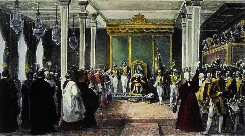 Aclamação do Rei D. João VI do Reino Unido de Portugal, Brasil e Algarves, no Rio de Janeiro - Jean Baptiste Debret