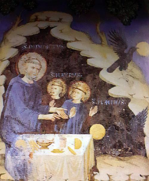 São Bento ordena a um corvo que leve para longe o pão envenenado.