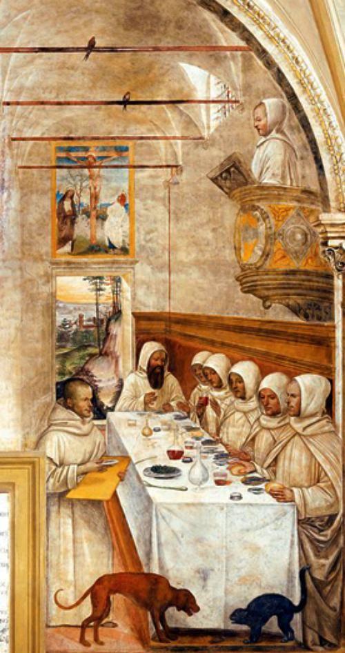 São Bento e os seus monges no refeitório do mosteiro